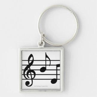 Notes de musique porte-clé carré argenté