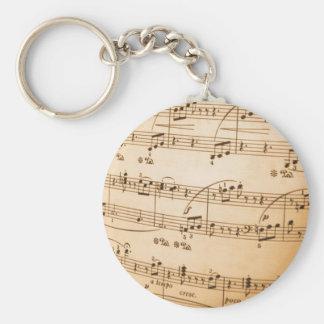 Notes de musique porte-clé rond
