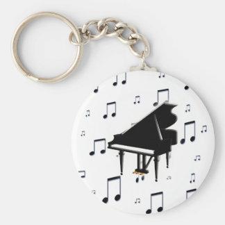 Notes de piano à queue et de musique porte-clé rond
