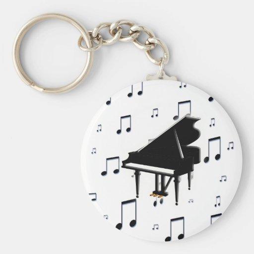 Notes de piano à queue et de musique porte-clés