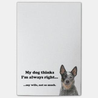 Notes de post-it d'épouse du chien v de bétail