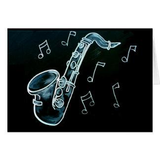 Notes de saxophone et de musique carte de vœux