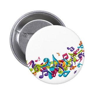notes et bruits colorés frais de musique badges