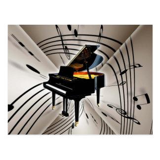 Notes et personnel de piano carte postale
