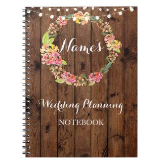 Notes florales d'idée de planification de mariage carnet