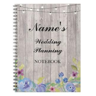 Notes florales en bois de carnet de planification