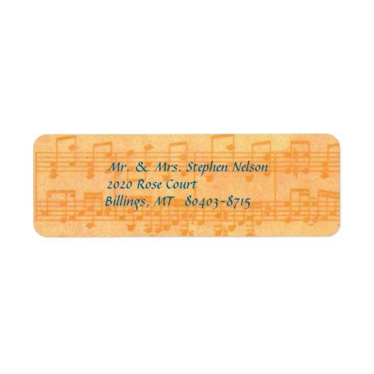 Notes jaunes de musique d'étiquette de adresse de étiquette d'adresse retour