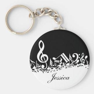 Notes musicales brouillées blanches personnalisées porte-clé rond