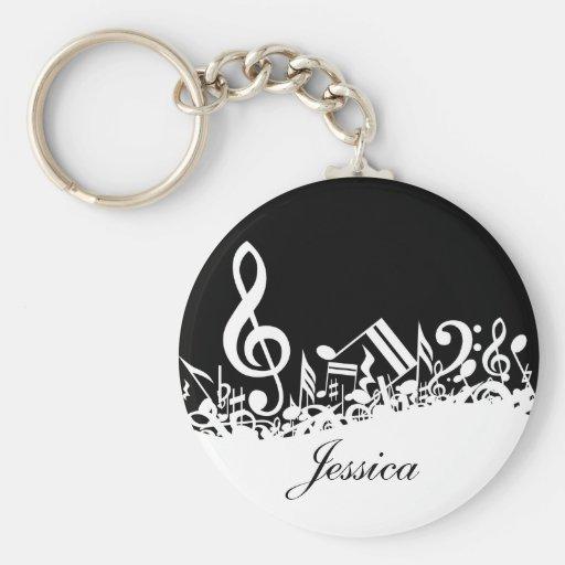 Notes musicales brouillées personnalisées Keychain Porte-clef