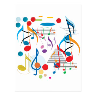 Notes musicales carte postale