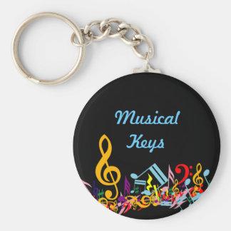 Notes musicales colorées Keychain Porte-clefs