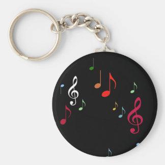 notes musicales colorées porte-clés