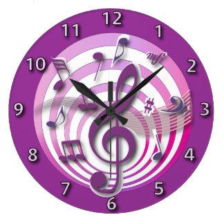 Notes musicales de rétro rose de l'effet 3D Grande Horloge Ronde
