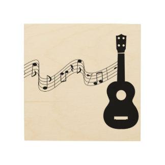 """Notes musicales d'ukulélé 8"""""""" art en bois du mur"""