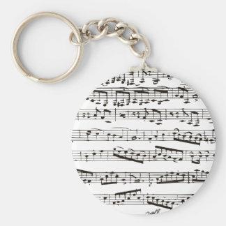 Notes musicales noires et blanches porte-clé rond