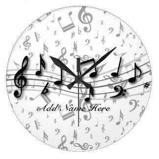 Notes musicales noires et grises personnalisées grande horloge ronde