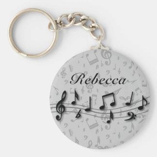 Notes musicales noires et grises personnalisées porte-clé rond