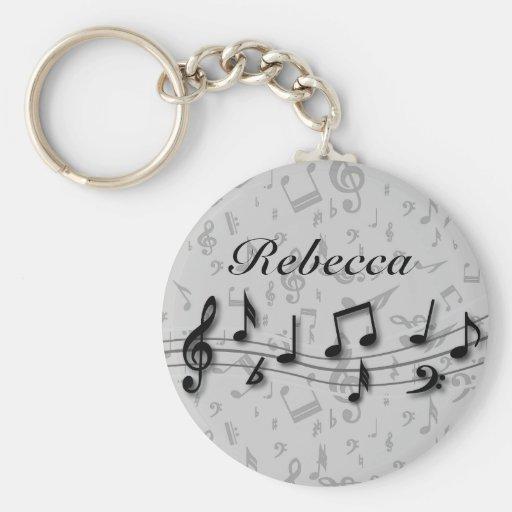Notes musicales noires et grises personnalisées porte-clef