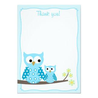 Notes plates bleues de Merci de hibou de huée Carton D'invitation 12,7 Cm X 17,78 Cm