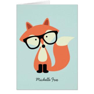 Notes pliées rouges de Merci de Fox de hippie Cartes De Vœux