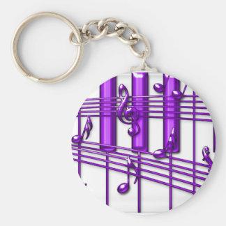 Notes pourpres de musique de clavier de piano porte-clé rond