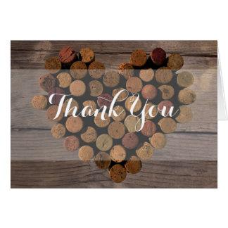 Notes rustiques de Merci de liège de vin Cartes De Vœux