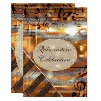 Notes scintillantes Quinceañera de musique Carton D'invitation 12,7 Cm X 17,78 Cm