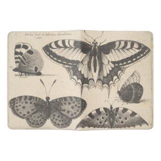 Notes vintages de champ de lépidoptères de protège-carnet x-large