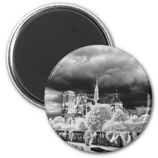 Notre Dame, b&w de Paris 4 Magnet Rond 8 Cm