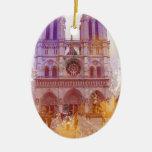 Notre Dame de Paris Ornement Ovale En Céramique