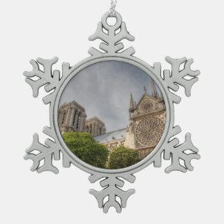 Notre Dame Ornement Flocon De Neige Pewter