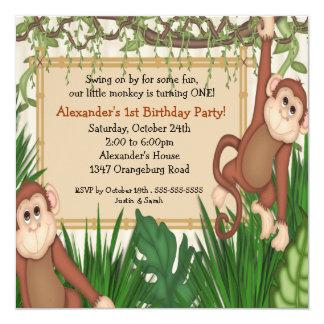 Notre ęr anniversaire de petit singe carton d'invitation  13,33 cm