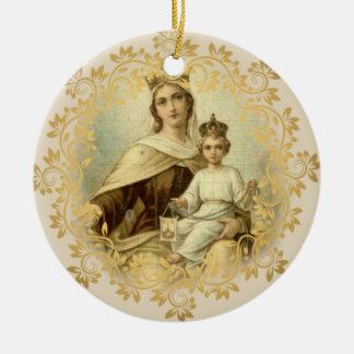 Notre Madame de bébé Jésus du mont Carmel omoplate Ornement Rond En Céramique