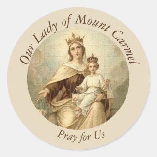 Notre Madame de bébé Jésus du mont Carmel omoplate Sticker Rond