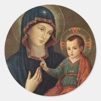 Notre Madame de consolation avec l'enfant Jésus Sticker Rond