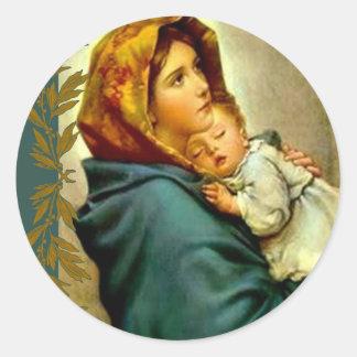 Notre Madame de l'enfant Jésus de mère béni par Sticker Rond