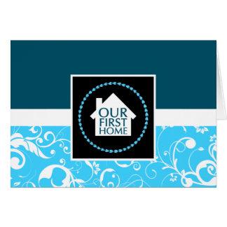 notre premier à la maison (damassé bleue) carte de vœux