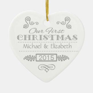 Notre premier argent de Noël sur le blanc Ornement Cœur En Céramique