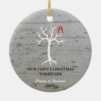 Notre premier de Noël arbre d'inséparables Ornement Rond En Céramique