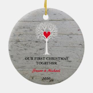 Notre premier de Noël bois de flottage d'arbre Ornement Rond En Céramique