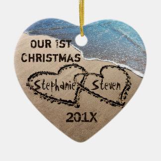 Notre premier Noël deux coeurs en ornement de