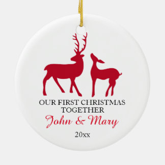 Notre premier Noël ensemble ornementent, aiment Ornement Rond En Céramique