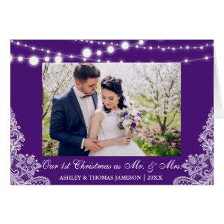 Notre premiers M. et Mme pourpre de Noël de carte