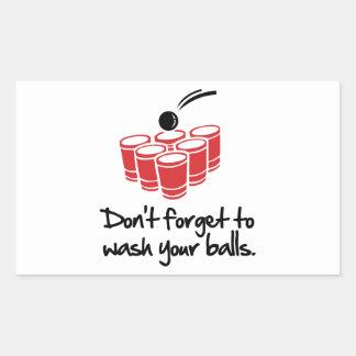 N'oubliez pas de laver vos boules sticker rectangulaire