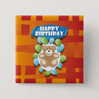 Nounours de joyeux anniversaire d'illustration badge