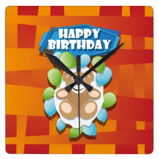 Nounours de joyeux anniversaire d'illustration horloge carrée