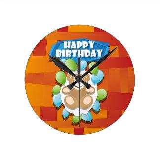 Nounours de joyeux anniversaire d'illustration horloge ronde