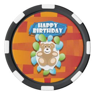 Nounours de joyeux anniversaire d'illustration lot de jeton de poker