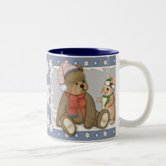 Nounours et lapin de Noël de neige Mug Bicolore
