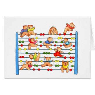 Nounours jouant l'abaque - carte de voeux de